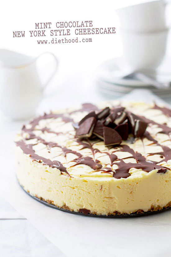 Mint Chocolate New York Style Cheesecake | Diethood