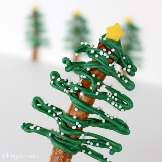 Chocolate Pretzel Christmas Trees | Oh My! Creative