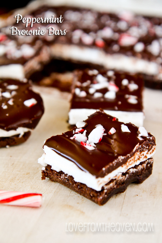 Peppermint Brownie Bars | Love From The Oven