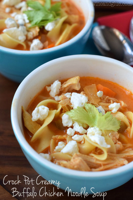 Creamy Buffalo Chicken Noodle Soup | Wine and Glue