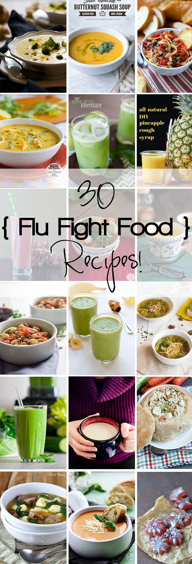 30 Flu Fighting Food Recipes to make you feel better inside and out! Everything from creamy chicken noodle soup to nutrient rich green smoothies!