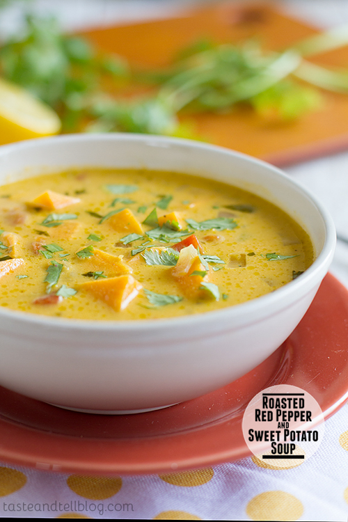 Roasted Red and Sweet Potato Soup | Taste and Tell Blog