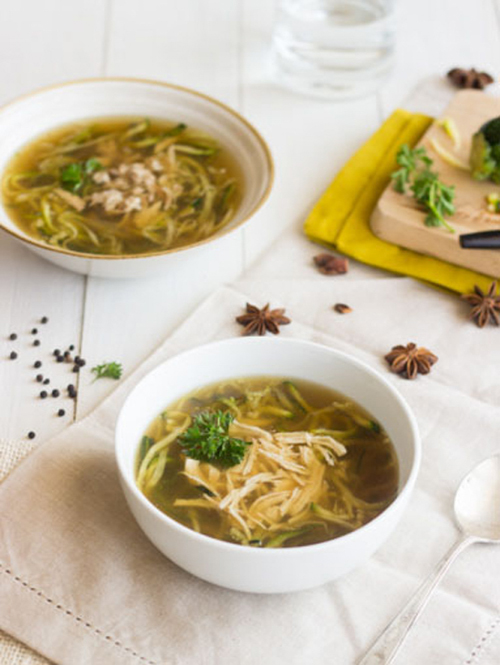Chicken Noodle Soup with Zucchini Noodles | Food Faith Fitness