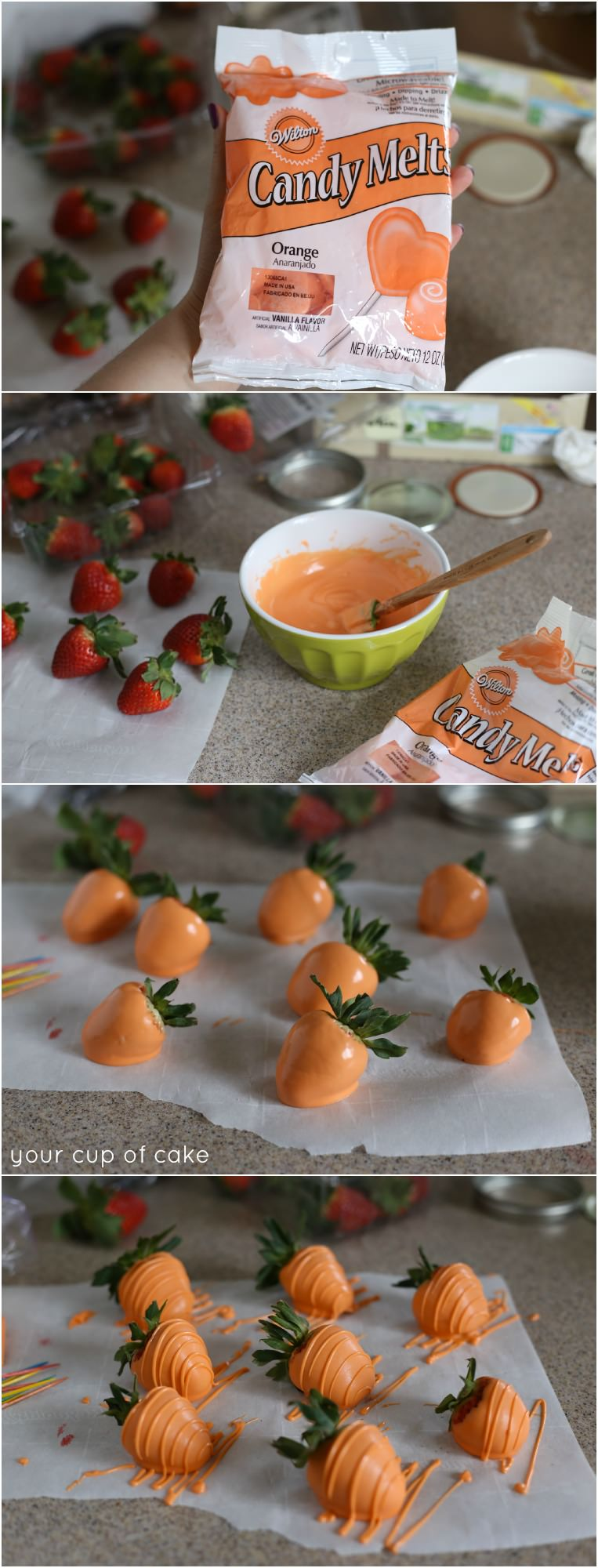 Chocolate Dipped Strawberry Carrots, ADORABLE!