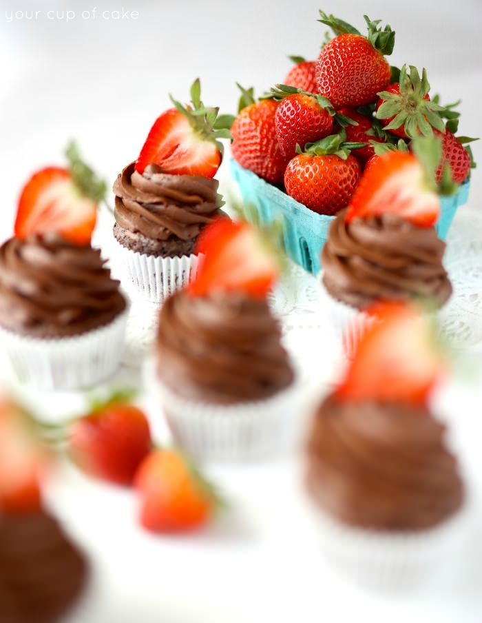 Beautiful chocolate strawberry cupcakes