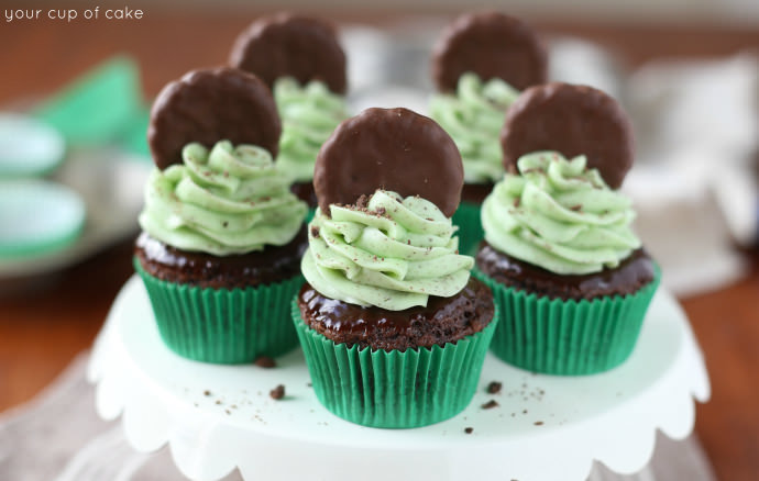 Thin Mint Cupcakes made from a cake mix!