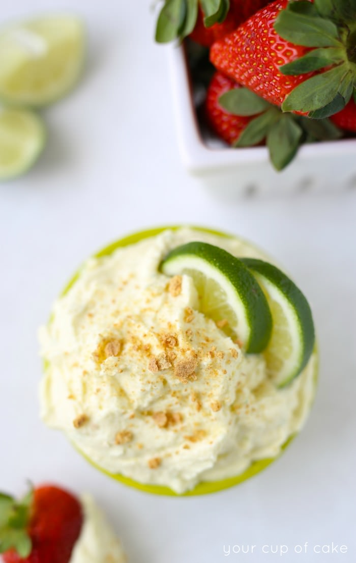 This Key Lime Pie Fruit Dip is SO good! It was like an explosion of lime in in my mouth!! Plus, it's only 3 ingredients!