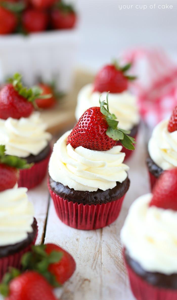 Chocolate Strawberry Cheesecake Cupcakes with chocolate ganache, yum!  My new favorite cupcakes!