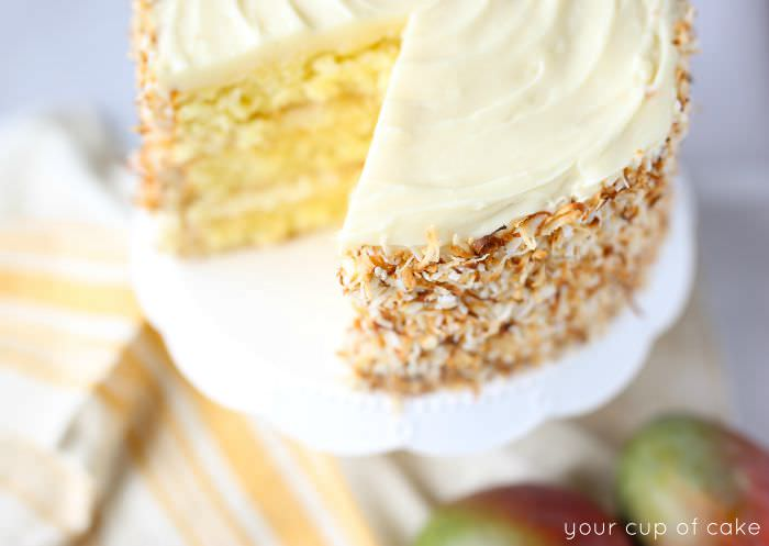 Coconut Mango Cake that makes you feel like you're on vacation in Hawaii!