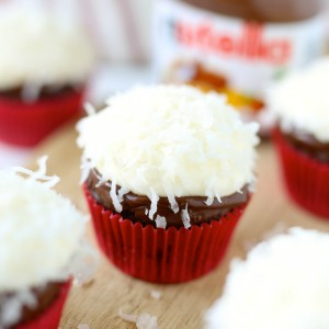 Coconut Nutella Cupcakes with Nutella ganache and coconut cream cheese frosting