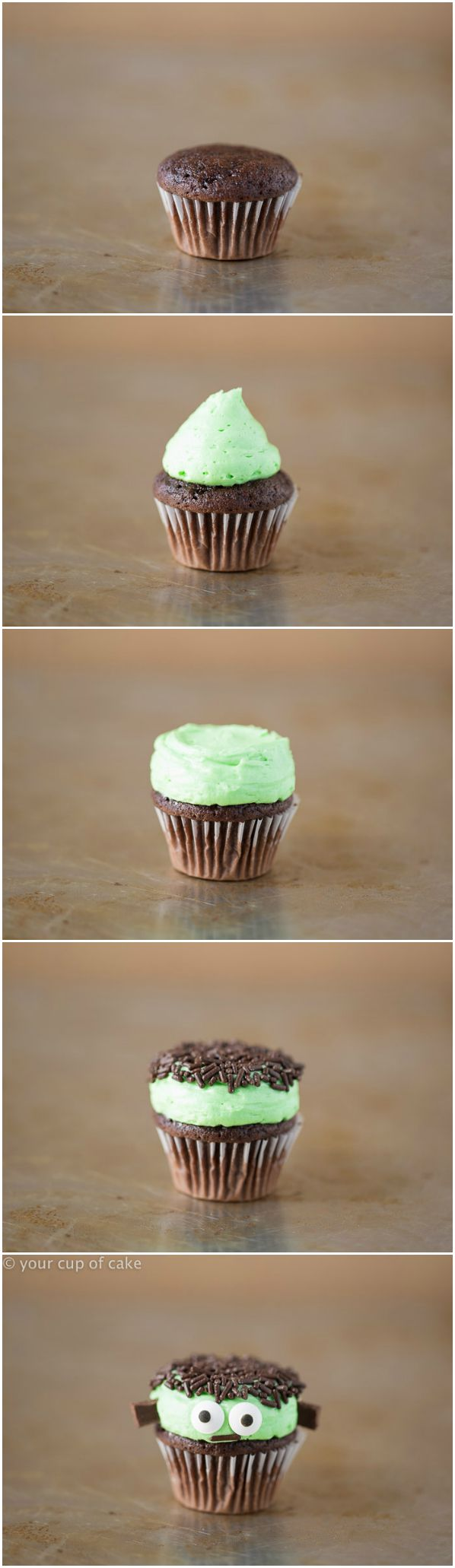 How to make mini Frankenstein cupcakes!