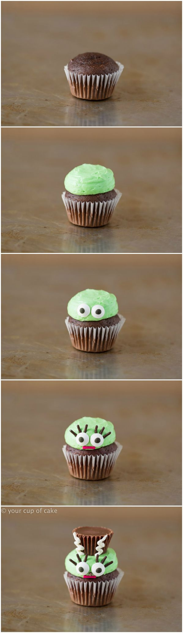 How to make mini Frankenstein's Wife cupcakes!