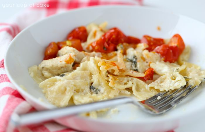 One Pot Cheesy Lemon Chicken Pasta with roasted tomatoes