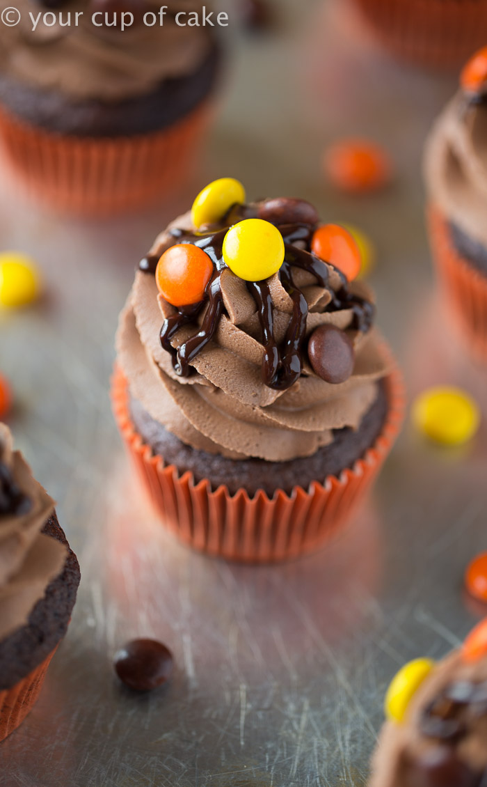 Reese's Pieces Cupcakes with Chocolate Peanut Butter Frosting! Yum!