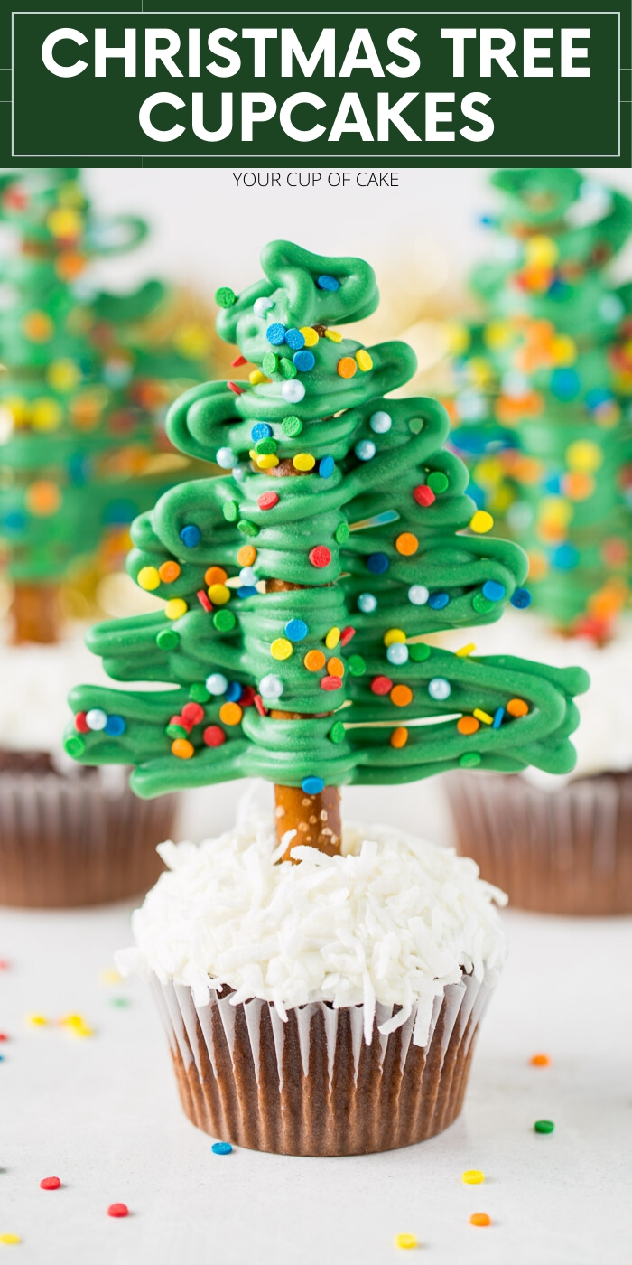 Easy to make Christmas Tree Cupcakes for kids!