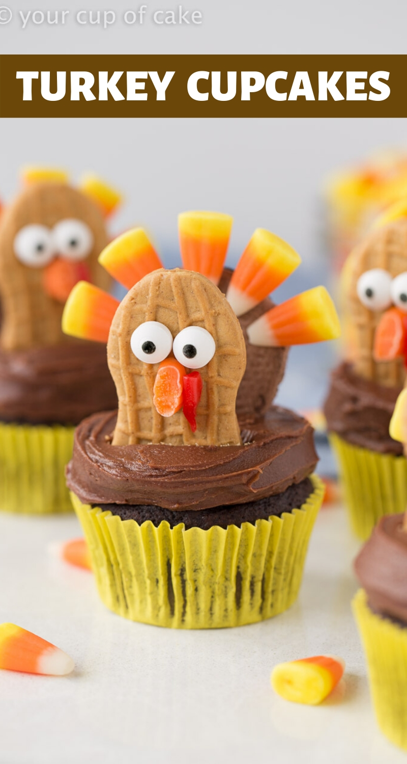 CUTE Candy Turkey Cupcakes for Thanksgiving! The kids LOVE making these!