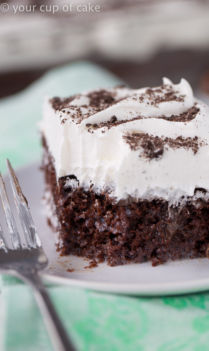 Thin Mint Poke Cake recipe, with a layer of hit fudge sauce! LOVED this!