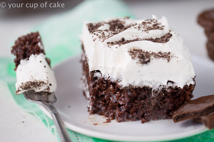 Thin Mint Poke Cake recipe, with a layer of hit fudge sauce! Yum!!