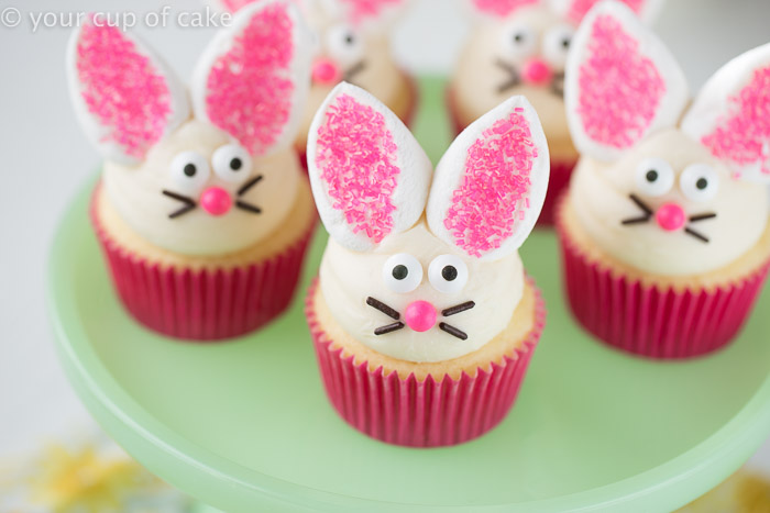 Easy Bunny Cupcakes with marshmallow ears