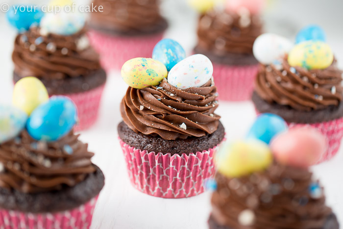 Chocolate Whopper Egg Cupcakes, so fun!  And east to let the kids decorate!