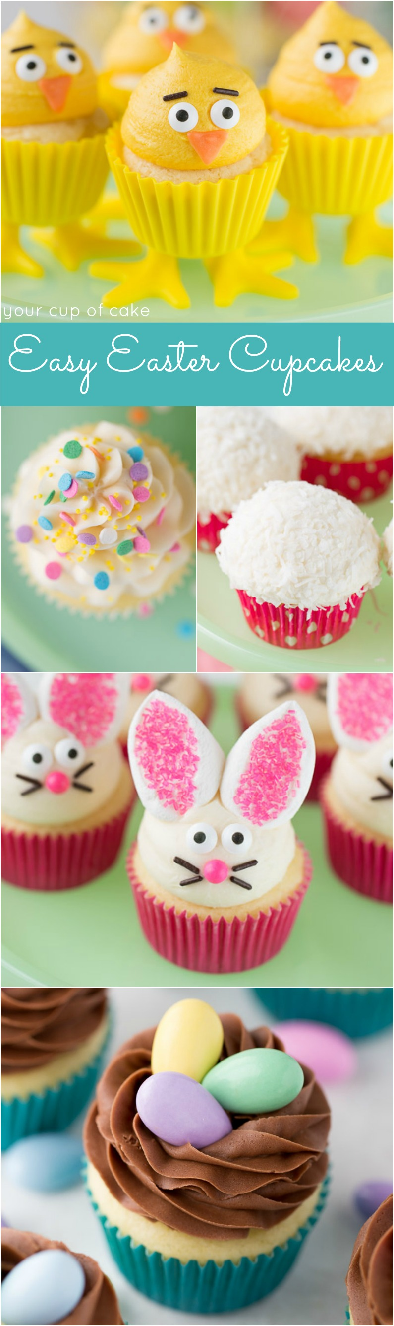 Easy Easter Cupcake Decorating Ideas!  The Marshmallow Bunny Ears are so cute!