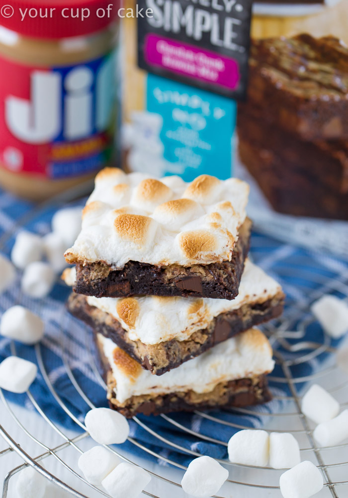 Peanut Butter S'more Brownies, this recipe is awesome! And SO easy!