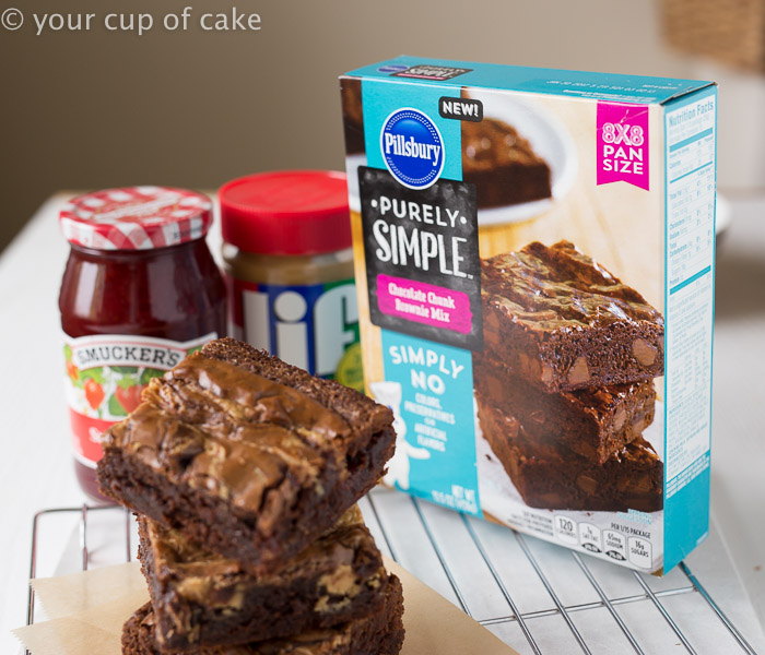 Peanut Butter and Jelly Brownies, so fun and easy to do with a brownie mix!