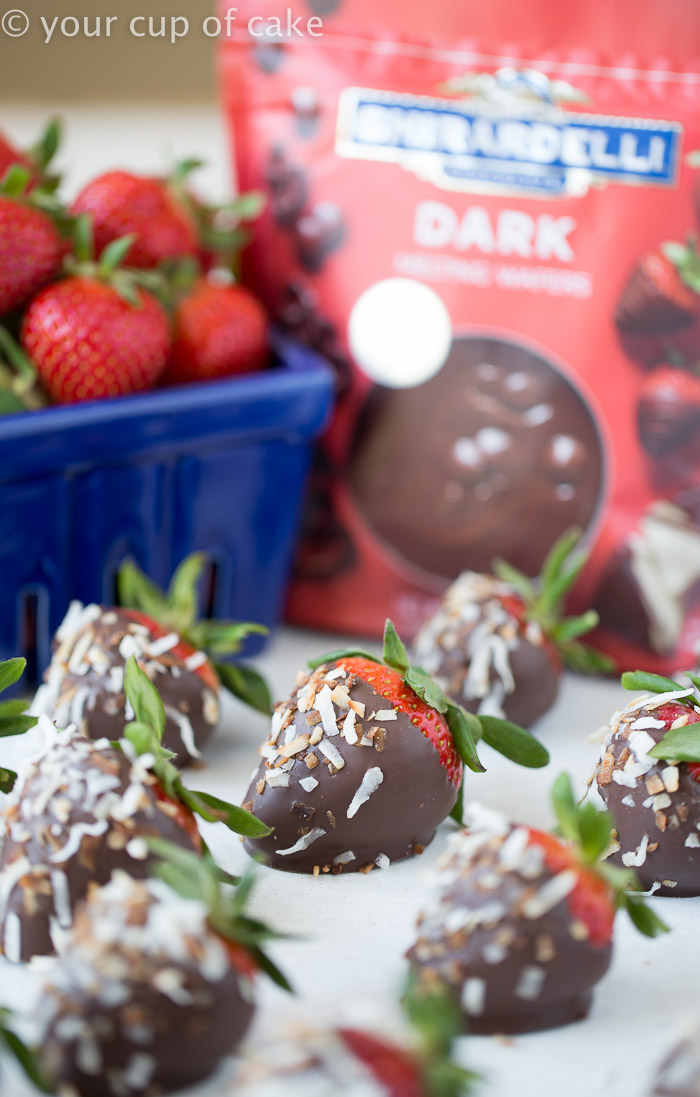 Chocolate Covered Strawberries with toasted coconut, yum!!