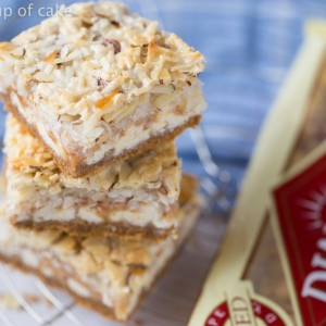 7th Heaven Bars with almonds, toffee, coconut and more. Yum!! I love these!