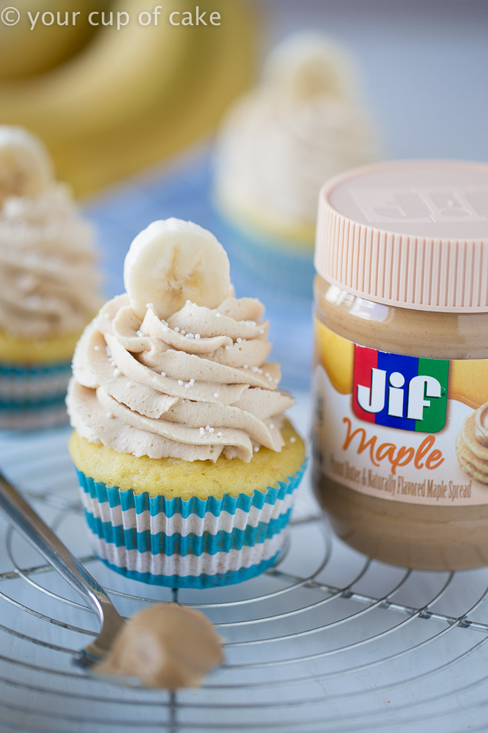 Banana Cupcakes topped with Peanut Butter Maple frosting!