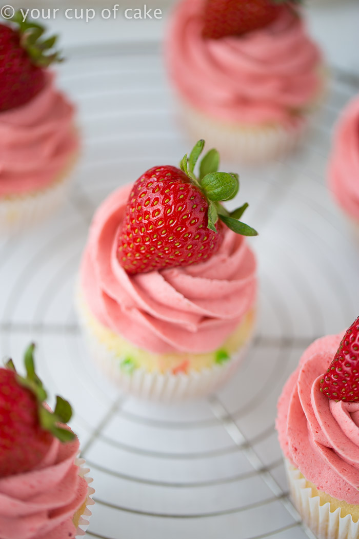 Confetti Cupcakes with Strawberry Frosting! Perfect for baby showers or pink parties!