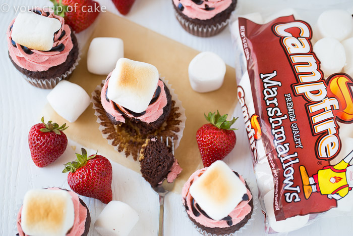 Strawberry S'mores Cupcakes with a big fluffy broiled marshmallow on top!