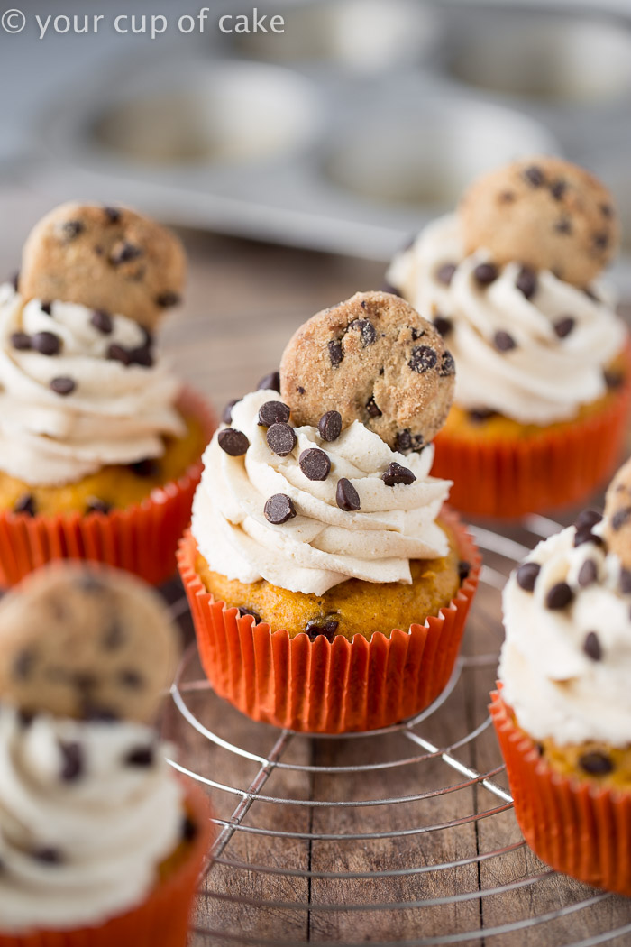 Pumpkin Cookie Dough Cupcakes, oh my! These are incredible!