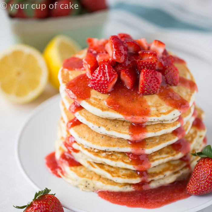Lemon Almond Poppy Seed Pancakes with Easy Strawberry Syrup! These taste even more amazing than they look! Favorite Recipe!