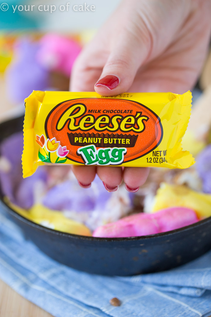 Easy Easter Peeps Skillet with Reese's Eggs!