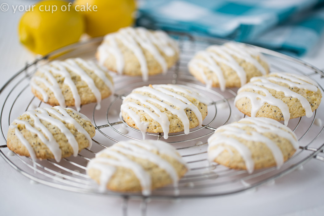 Lemon Poppy Seed Pillow Cookies with a springy lemon glaze