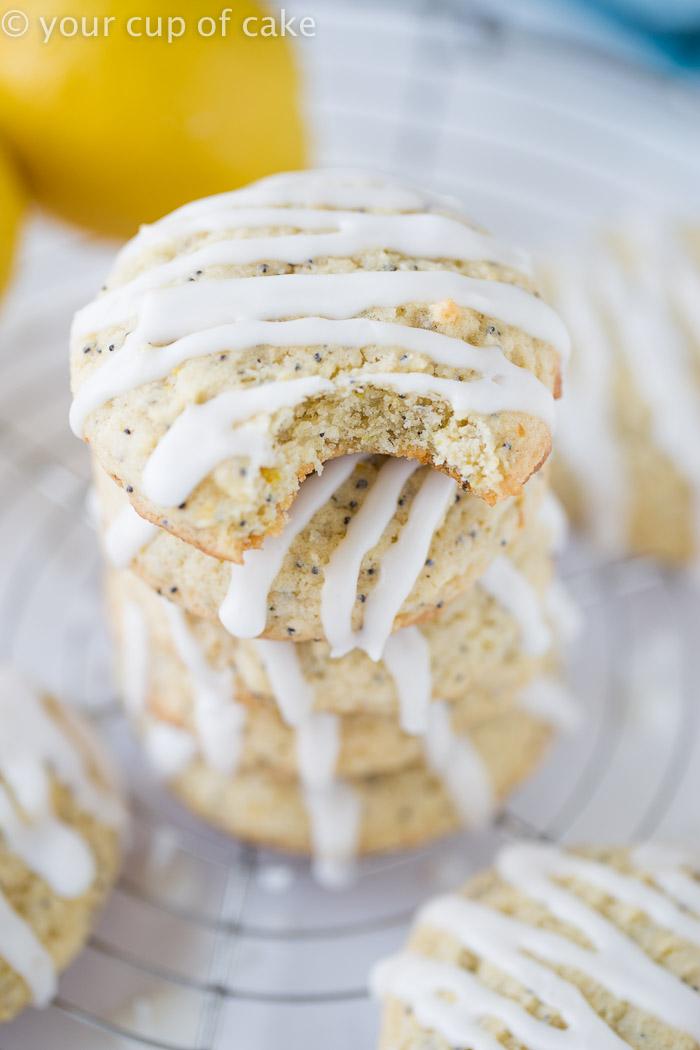 Lemon Poppy Seed Pillow Cookies with a springy lemon glaze
