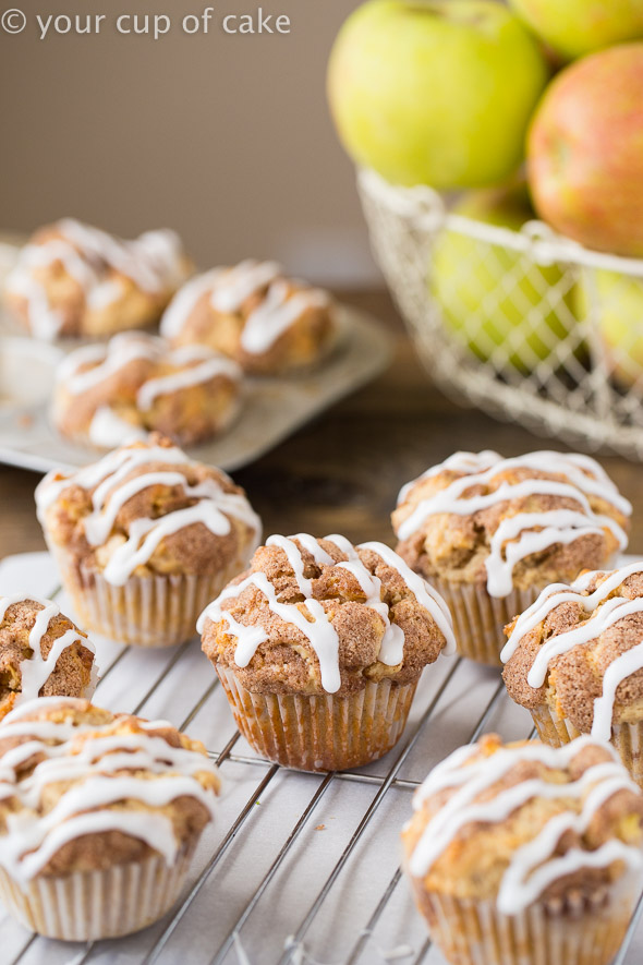 Delicious Apple Snickerdoodle Muffins with glaze