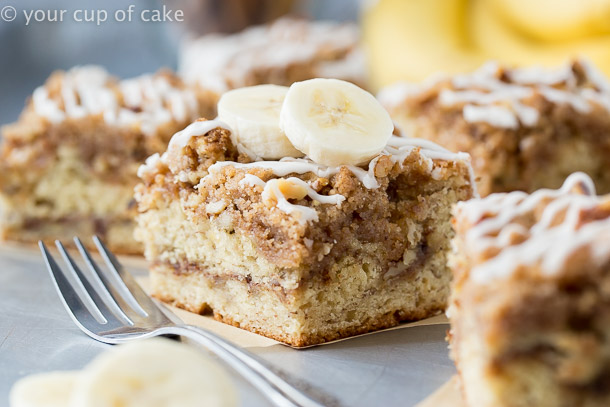 Banana Bread Coffee Cake With Cinnamon Sugar Crumble Topping