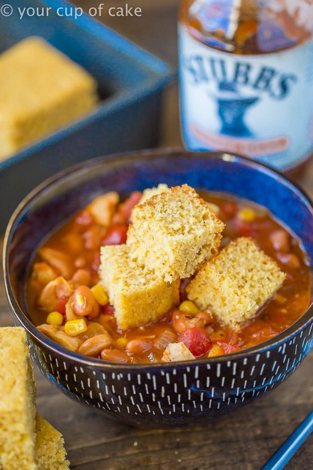 BBQ Chicken Soup with cornbread