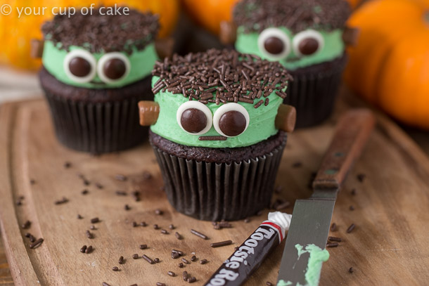Frankenstein Cupcakes are the perfect cute Halloween treat