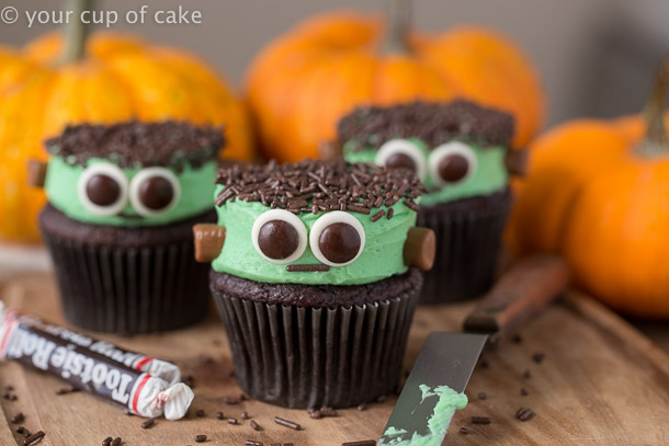 Cute Frankenstein Cupcakes your kids will love for Halloween