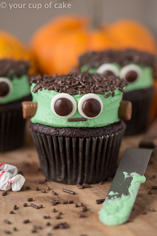Frankenstein Cupcakes For Halloween