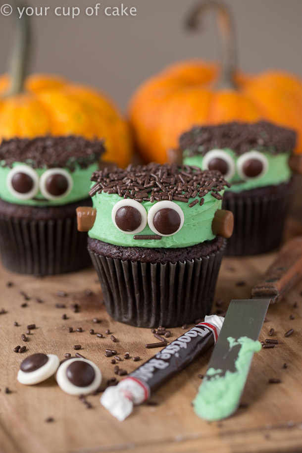 Easy to make Frankenstein Cupcakes