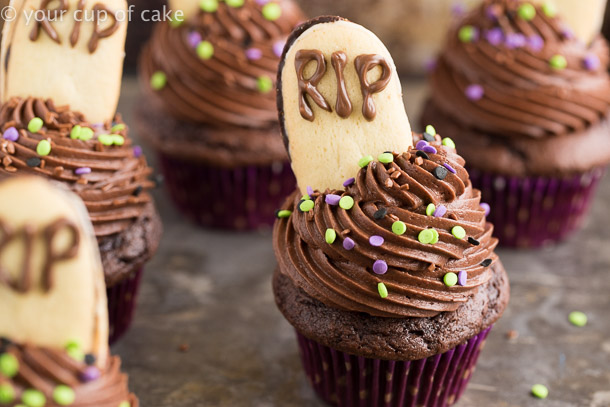 Chocolate Graveyard Cupcakes for Halloween