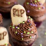 Graveyard Cupcakes with Tombstone Milano Cookies