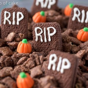 Peanut Butter Brownie Graveyard Muddy Buddies for Halloween