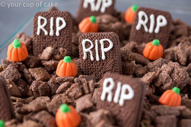 Peanut Butter Brownie Graveyard Muddy Buddies for Halloween
