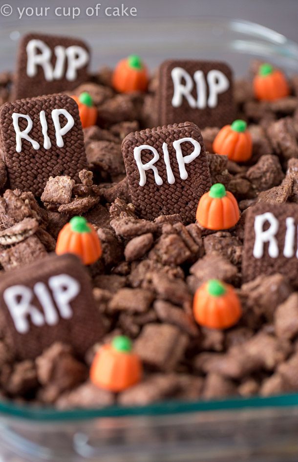 Make Graveyard Muddy Buddies with the kids for Halloween