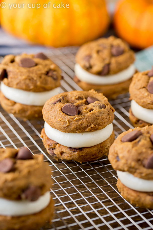 These Pumpkin Cream Cheese Cookie Sandwiches will make you want to eat the whole batch